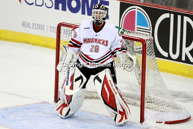 Nebraska-Omaha goalie Dayn Belfour. (Photo by Michelle Bishop) .