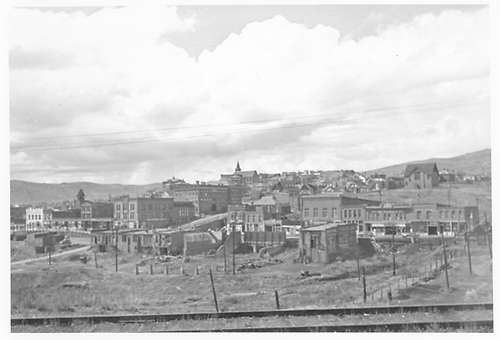 View of Cripple Creek from MT track.<br /> Midland Terminal  Cripple Creek, CO