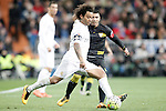Real Madrid's Marcelo Vieira (l) and Sevilla's Jose Antonio Reyes during La Liga match. March 20,2016. (ALTERPHOTOS/Acero)
