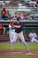 State College Spikes left fielder Bryce Denton (25) at bat during a game against the Auburn Doubledays on August 21, 2017 at Falcon Park in Auburn, New York.  Auburn defeated State College 6-1.  (Mike Janes/Four Seam Images)