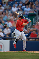 New Hampshire Fisher Cats Chad Spanberger (24) bats during an Eastern League game against the Trenton Thunder on August 20, 2019 at Arm & Hammer Park in Trenton, New Jersey.  New Hampshire defeated Trenton 7-2.  (Mike Janes/Four Seam Images)