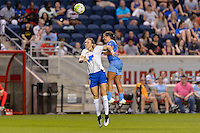 Bridgeview, IL - Saturday June 18, 2016: Rachel Wood, Danielle Colaprico during a regular season National Women's Soccer League (NWSL) match between the Chicago Red Stars and the Boston Breakers at Toyota Park.