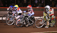 Heat 15: Leigh Adams (white), Lee Richardson (red), Maciej Jankowski (yellow) and Adam Shields (blue) - Lakeside Hammers vs Swindon Robins, Elite League Speedway at the Arena Essex Raceway, Purfleet - 03/09/10 - MANDATORY CREDIT: Rob Newell/TGSPHOTO - Self billing applies where appropriate - 0845 094 6026 - contact@tgsphoto.co.uk - NO UNPAID USE.
