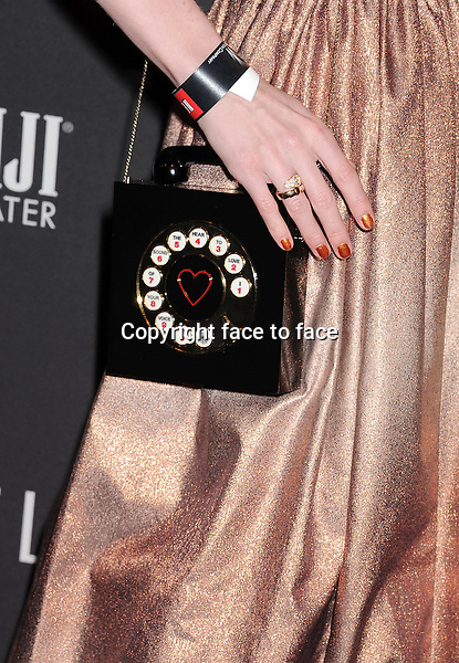 BEVERLY HILLS, CA- JANUARY 12: Actress Lydia Hearst (handbag, ring detail) at The Weinstein Company &amp; Netflix 2014 Golden Globes After Party held at The Beverly Hilton Hotel on January 12, 2014 in Beverly Hills, California.<br />