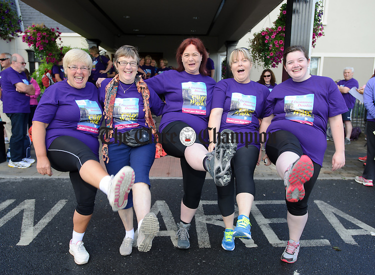 Sue Naughton, Catherine Brigdale, Trish Corey, Judy Brigdale and Rachel Corey stretch out their legs before heading off on the Weightwatchers/Clare Champion Liscannor to Cliffs of Moher coastal walk. Photograph by John Kelly.