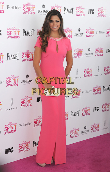 Camila Alves.2013 Film Independent Spirit Awards - Arrivals Held At Santa Monica Beach, Santa Monica, California, USA,.23rd February 2013..indy indie indies indys full length beaded slit split white pink dress cut out cleavage dress maxi clutch bag .CAP/ROT/TM.© TM/Roth/Capital Pictures