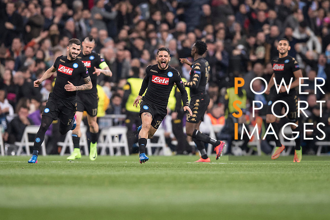 SSC Napoli teammates celebrate during the match Real Madrid vs Napoli, part of the 2016-17 UEFA Champions League Round of 16 at the Santiago Bernabeu Stadium on 15 February 2017 in Madrid, Spain. Photo by Diego Gonzalez Souto / Power Sport Images