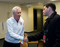 Tom Sermanni, USWNT Head Coach talks with the media in Chicago, October 31, 2012.