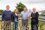 "Mike O'Sullivan Chairman of the north Kerry Harrier's,Bernadette Hanrahan Secretary and Pro, presented Tom O'Sullivan owner of ""Call ME BEN"" winner of the Dr Arthur Spring 'In Memory' race with the Trophy  and Sean Halloran,  President. at  the The North Kerry Harriers Point to Point in Ballybeggan Racecourse on Saturday"