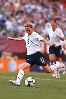 22 MAY 2010:  USA's Kristine Lilly #13 during the International Friendly soccer match between Germany WNT vs USA WNT at Cleveland Browns Stadium in Cleveland, Ohio on May 22, 2010.