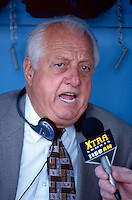 Former Los Angeles Dodgers Manager Tommy Lasorda before a Major League Baseball game at Dodger Stadium during the 1998 season in Los Angeles, California. (Larry Goren/Four Seam Images)