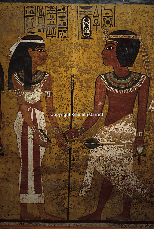 Tomb of Tutankhamun, Pharaoh faces godess Nut who is welcoming him with purified water, Tut, archaeology, New Kingdom, Valley of the Kings, Egypt, burial chamber