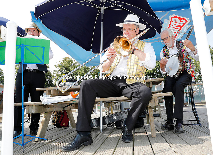 Jazz band provides entertainment during the County Championship Division 2 game between Kent and Leicestershire at the St Lawrence ground, Canterbury, on Sun July 22, 2018