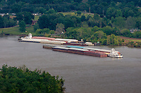 Barges on the Arkansas River viewed from Petit Jean Gravesite Overlook at Petit Jean State Park near Morilton Arkansas.