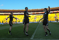 The match officials warm up for the A-League football match between Wellington Phoenix and Newcastle Jets at Westpac Stadium, Wellington, New Zealand on Sunday, 11 October 2015. Photo: Dave Lintott / lintottphoto.co.nz