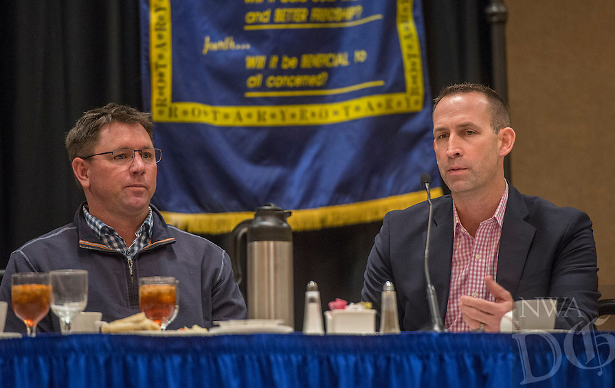 NWA Democrat-Gazette/ANTHONY REYES @NWATONYR<br /> Scott Sharp (right), the Kansas City Royals' Assistant General Manager/Baseball Operations, talks as Northwest Arkansas Naturals' manager Vance Wilson looks on Monday, Jan. 15, 2017 during the Springdale Rotary hosted the Northwest Arkansas Naturals Hot Stove Luncheon at the Springdale Holiday Inn Convention Center.