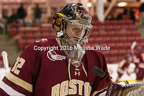 Gabri Switaj (BC - 32) - The visiting Boston College Eagles defeated the Harvard University Crimson 2-0 on Tuesday, January 19, 2016, at Bright-Landry Hockey Center in Boston, Massachusetts.