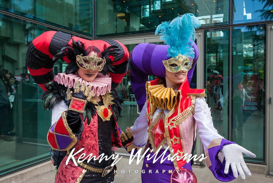 Two Colorful Court Jesters, Sakura Con 2017, Seattle, Washington, USA.