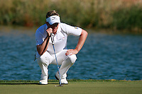 Luke Donald (ENG) lines up his putt on the 16th green during Sunday's Final Round of the Bankia Madrid Masters at El Encin Golf Hotel, Madrid, Spain, 9th October 2011 (Photo Eoin Clarke/www.golffile.ie)