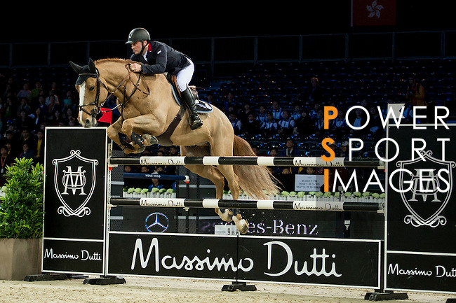 Joe Clee on Fento Chin S competes during competition Table A Against the Clock at the Longines Masters of Hong Kong on 19 February 2016 at the Asia World Expo in Hong Kong, China. Photo by Li Man Yuen / Power Sport Images
