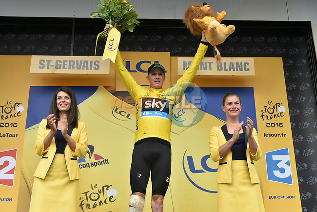 Race leader Christopher Froome (GBR) Team Sky retains the Yellow Jersey on the podium at the end of Stage 19 of the 2016 Tour de France running 146km from Albertville to Saint-Gervais Mont Blanc, France. 22nd July 2016.<br /> Picture: ASO/P.Ballet | Newsfile<br /> <br /> <br /> All photos usage must carry mandatory copyright credit (&copy; Newsfile | ASO/P.Ballet)
