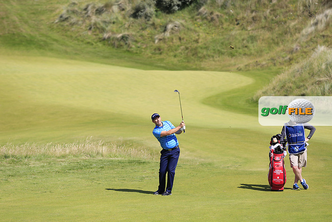 Padraig Harrington (IRL) plays his 3rd shot on the 2nd hole during Saturday's Round 3 of the 2017 Dubai Duty Free Irish Open held at Portstewart Golf Club, Portstewart, Co Derry, Northern Ireland. 08/07/2017<br /> Picture: Golffile | Eoin Clarke<br /> <br /> <br /> All photo usage must carry mandatory copyright credit (&copy; Golffile | Eoin Clarke)