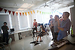BROOKLYN -- APRIL 22, 2011:  Studiomates play RockBand after a day of working in their workspace.on April 22, 2011 in Dumbo, Brooklyn.   THIS FRAME:  (PHOTOGRAPH BY MICHAEL NAGLE)