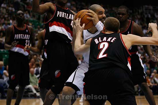 Utah Jazz vs. Portland Trailblazers. Carlos Boozer.<br />