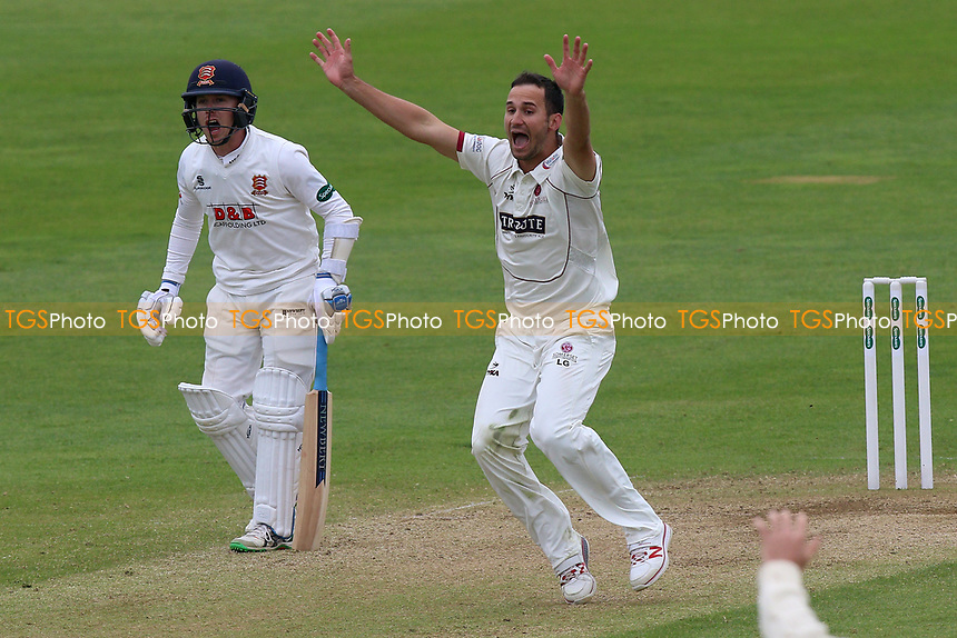 Lewis Gregory of Somerset with an appeal for a wicket during Somerset CCC vs Essex CCC, Specsavers County Championship Division 1 Cricket at The Cooper Associates County Ground on 15th April 2017