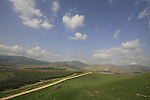 Israel, Upper Galilee. A view of the Hula valley from Tel Hazor