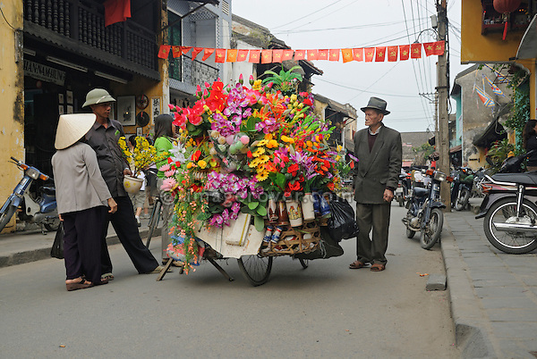 Asia, Vietnam, Hoi An. Hoi An old quarter. Street vendor selling flowers from his artfully overloaded bicycle. The historic buildings, attractive tube houses, and decorated community halls have 1999 earned Hoi An's old quarter the status of a UNESCO World Heritage Site. To protect the old quarter's character stringent conversation laws prohibit alterations to buildings, as well as the presence of cars on the roads.
