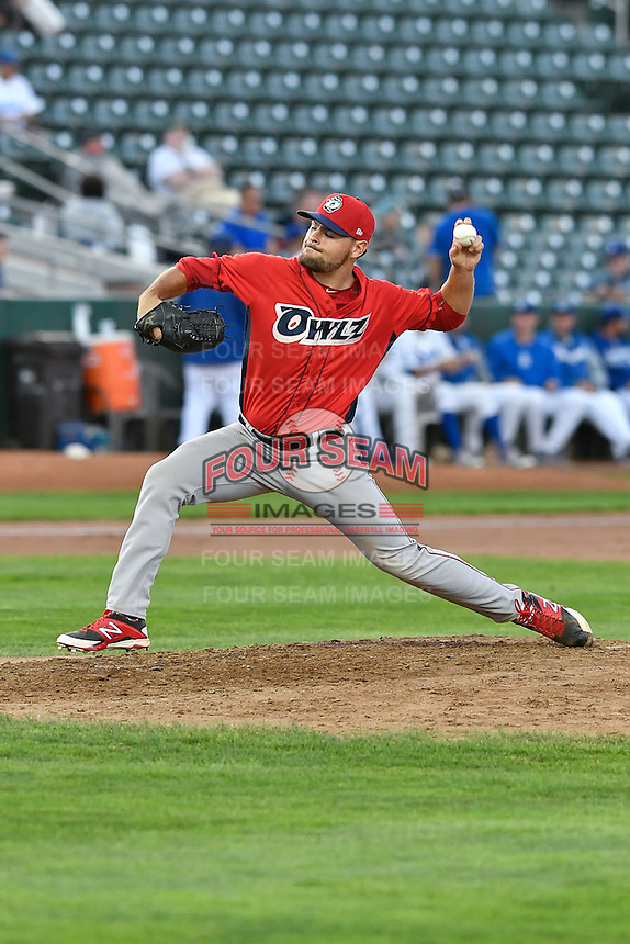 Max Bethell (45) of the Orem Owlz delivers a pitch to the plate against the Ogden Raptors in Pioneer League action at Lindquist Field on September 9, 2016 in Ogden, Utah. This was Game 1 of the Southern Division playoff. Orem defeated Ogden 6-5. (Stephen Smith/Four Seam Images)
