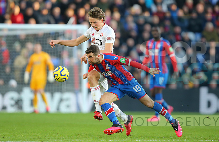 Sheffield United's Sander Berge and Crystal Palace's James McArthur during the Premier League match at Selhurst Park, London. Picture date: 1st February 2020. Picture credit should read: Paul Terry/Sportimage