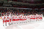 "Wisconsin Badgers sing ""Varsity"" after a WCHA Conference NCAA college women's hockey game against the Bemidji State Beavers on January 28, 2012 in Madison, Wisconsin. The Badgers won 1-0. (Photo by David Stluka)"