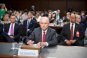 "United States Attorney General Jeff Sessions arrives to give testimony before the US Senate Select Committee on Intelligence to  ""examine certain intelligence matters relating to the 2016 United States election"" on Capitol Hill in Washington, DC on Tuesday, June 13, 2017.  In his prepared statement Attorney General Sessions said it was an ""appalling and detestable lie"" to accuse him of colluding with the Russians.<br /> Credit: Ron Sachs / CNP<br /> (RESTRICTION: NO New York or New Jersey Newspapers or newspapers within a 75 mile radius of New York City)"