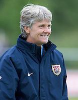 USA head coach, Pia Sundhage, smiles during the match against Sweden, Landskamp, Sweden, July 5th, 2008.