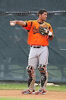 Baltimore Orioles catcher Gabriel Lino #10 during an Instructional League game against the Boston Red Sox at Buck O'Neil Complex on October 6, 2011 in Sarasota, Florida.  (Mike Janes/Four Seam Images)