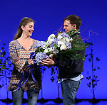 Laura Dreyfuss with Taylor Trensch as he takes his bows as the newest Evan in 'Dear Evan Hansen' on Broadway at the Music Box Theatre on February 6, 2018 in New York City.