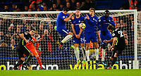 Alvora Morata, Gary Cahill, Marcos Alonso and Tiémoué Bakayoko block a free kick taken by Markus Suttner of Brighton during the EPL - Premier League match between Chelsea and Brighton and Hove Albion at Stamford Bridge, London, England on 26 December 2017. Photo by PRiME Media Images.
