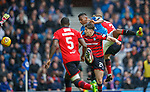 07.04.2018 Rangers v Dundee:<br /> Alfredo Morelos throws his head at the ball