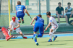 GER - Mannheim, Germany, April 15: During the field hockey 1. Bundesliga match between Mannheimer HC (blue) and Rot-Weiss Koeln (white) on April 15, 2018 at Am Neckarkanal in Mannheim, Germany. Final score 2-2.  Timm Haase #27 of Mannheimer HC, Lucas Vila #12 of Mannheimer HC<br /> <br /> Foto &copy; PIX-Sportfotos *** Foto ist honorarpflichtig! *** Auf Anfrage in hoeherer Qualitaet/Aufloesung. Belegexemplar erbeten. Veroeffentlichung ausschliesslich fuer journalistisch-publizistische Zwecke. For editorial use only.