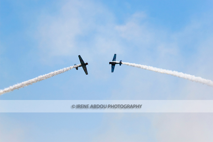 Planes perform aerobatics at the Andrews Air Force Base, Maryland, during the 2008 Joint Service Open House air show.