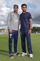 Mohammad Amir (L) of Essex and Babar Azam of Somerset during Essex Eagles vs Somerset, Vitality Blast T20 Cricket at The Cloudfm County Ground on 7th August 2019