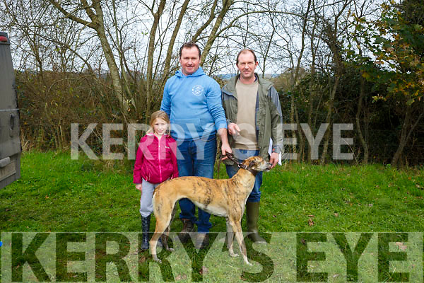 Mia Costello, William Costello and Maurice Costello, Ardfert with Amys Jackpotat the 58th Island Cup meeting of the Castleisland coursing Club on Monday
