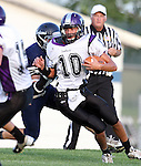 HARTFORD, SD - AUGUST 30:  Brayden Swartwout #42 from West Central drags down Isaac Faldmo #10 from Dakota Valley during the first quarter of their game Friday night at West Central. (Photo by Dave Eggen/Inertia)