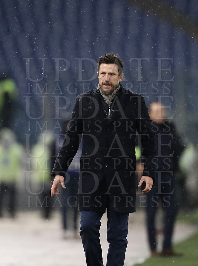 Football, Serie A: AS Roma - Genoa, Olympic stadium, Rome, December 16, 2018. <br /> Roma's coach Eusebio Di Francesco during the Italian Serie A football match between Roma and Genoa at Rome's Olympic stadium, on December 16, 2018.<br /> UPDATE IMAGES PRESS/Isabella Bonotto