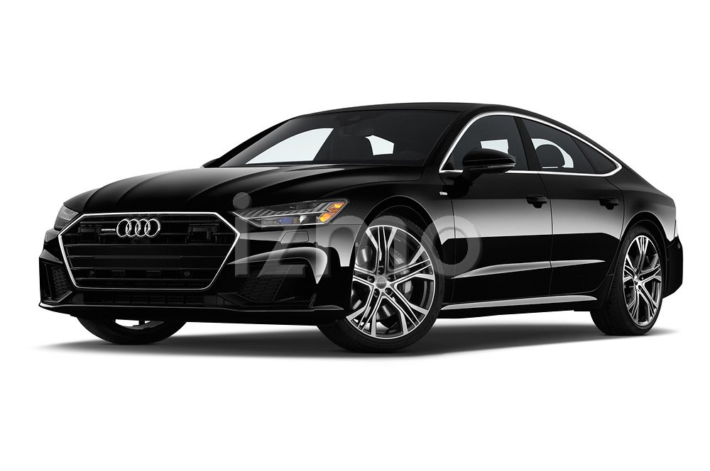 Stock pictures of low aggressive front three quarter view of a 2019 Audi A7 Prestige 5 Door Hatchback