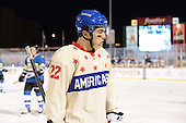 Rochester Amerks center Phil Varone (22) during the third period of The Frozen Frontier outdoor AHL game against the Lake Erie Monsters at Frontier Field on December 13, 2013 in Rochester, New York.  (Copyright Mike Janes Photography)