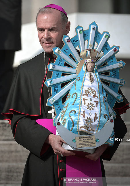 The image of Argentina's saint patron, the Our Lady of Lujan .Pope Francis during of a weekly general audience at St Peter's square in Vatican, Wednesday.October 30, 2019