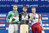 (L to R) MEYER Michael RSA; SUNAMA Keita JPN; VERRASZTO David HUN<br /> 200 Individual Medley men<br /> FINA Airweave Swimming World Cup 2015<br /> Doha, Qatar 2015  Nov.2 nd - 3 rd<br /> Day3 - Nov  3rd finals<br /> Photo G. Scala/Deepbluemedia/Insidefoto